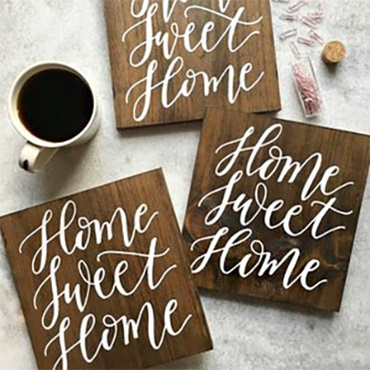 "Hand-Lettered ""Home Sweet Home"" Wood Sign"