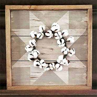 Cotton and Wood Barn Quilt