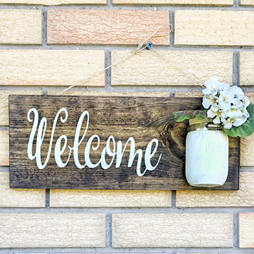 Mason Jar Welcome Sign